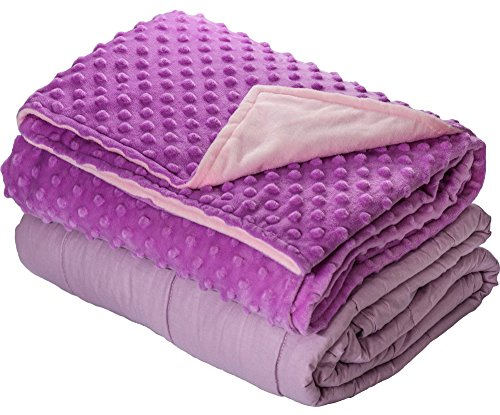 7lb Weighted Blanket with Dot Minky Cover for Kids Teens 55-85lb Individual.Help Children with Sleep Issues Anxiety Stress Insomnia (Inner Light Violet/Cover Violet & Pink, 41''x60'' 7lbs) by Loved Blanket