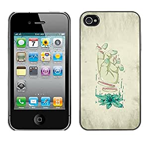 iPhone 4 / 4S , JackGot - Impreso colorido protector duro espalda Funda piel de Shell (Rodajas Mano - Arte Weird)