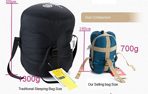JZK® ultra ligero, cálido saco de dormir saco de dormir de algodón pequeña, acampar al aire libre impermeable dormir saco de dormir de verano Bolsa, ...