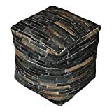 Hair Hide Patchwork Leather Cube Pouf | Dark Brown Strips Ranch Seat Square