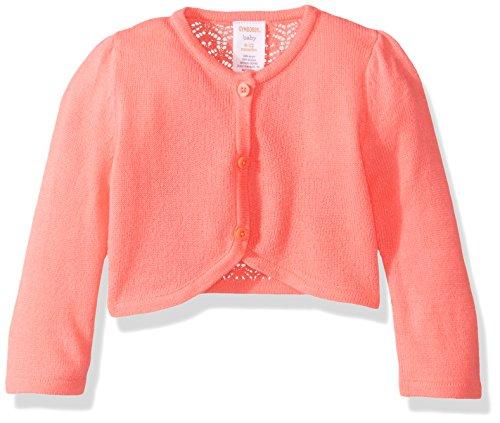 Coral Cardigan Sweater (Gymboree Baby Toddler Girls' G S Cardigan, Neon Coral, 12-18 Months)