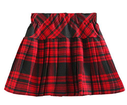 Beautifulfashionlife Litter Girl's Elastic Toddler Tutu Skirt (130CM / 6-7Y, Red Mixed Black) (Toddler Skirt Plaid Girl)