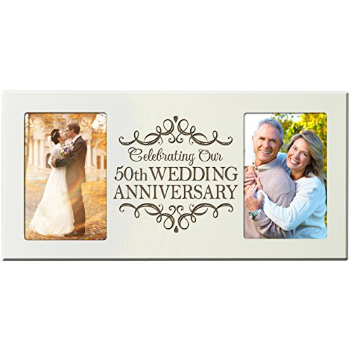 LifeSong Milestones 50th Anniversary Parent Wedding Gift 50th Wedding Anniversary for Couple Picture Frame Size 16 Inches Wide X 8 Inches High Holds 2- 4x6 Photos (Ivory)