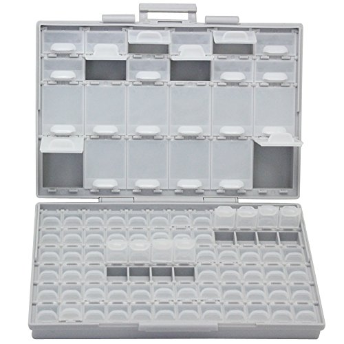 AideTek 96 Lids Enclosure SMD SMT Parts Organizer with Labels