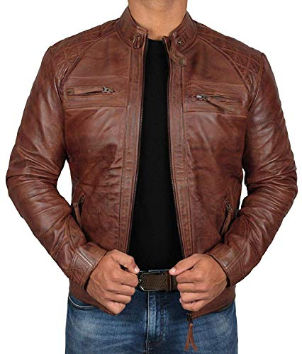 Brown Leather Motorcycle Jacket | [1100082] Brown Johnson, S (Designer Leather Jackets Mens)