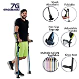 Ergobaum 7G by Ergoactives. 1 Pair (2 Units) of Ergonomic Forearm Crutches - Adult 5' - 6'6'' Adjustable, Foldable, Ergonomic, Shock Absorber, Non-Slip, Knee-Rest Platforms, LED Lights (Black)