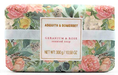 Asquith & Somerset England Geranium & Rose Triple Milled Moisturizing Shea Butter Luxury Soap 10.58 ounces