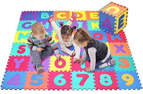 Click N' Play Alphabet and Numbers Foam Puzzle Play Mat, 36 Tiles (Each Tile Measures 12 X 12 Inch for a Total Coverage of 36 Square Feet) - Alphabet Puzzle Mat