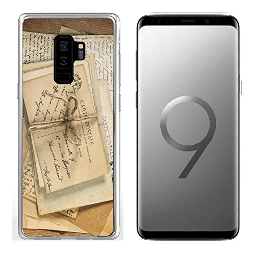 (Samsung Galaxy S9 Plus Clear case Soft TPU Rubber Silicone Bumper Snap Cases IMAGE ID: 30537266 old letters and antique french postcards vintage sentimental backgro)