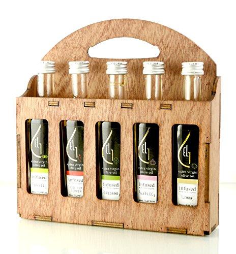 Pellas Nature | Fresh Organic Infused Olive Oil | Red Hot Pepper | Basil | Garlic | Oregano | Lemon | Wooden Gift Set | Single Origin Greek EVOO | 5 X 1.7oz (5x50ml)