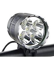 Fietsverlichting, WASAGA 6000 lumen 5 LED-fietslicht, waterdichte mountainbike voorlicht met 8400 mAh oplaadbare batterij, 3 modi fietsverlichting koplamp
