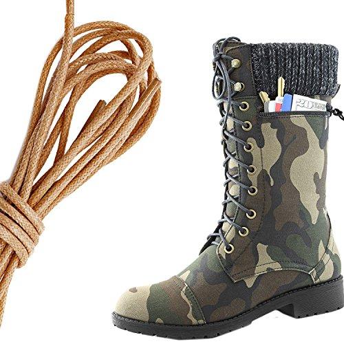 Dailyshoes Femmes Style De Combat Lacets Bottine Bout Rond Bout Militaire Militaire Carte De Crédit Couteau Argent Poche Portefeuille, Camouflage Brun Cv