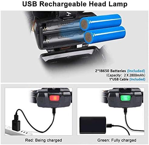 Usb Rechargeable Cob Single Head Phare Flintronic Led Head Torch Ip64 Impermé
