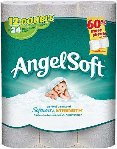 Angel Soft Toilet Tissue, White - Double Roll - 12 pk