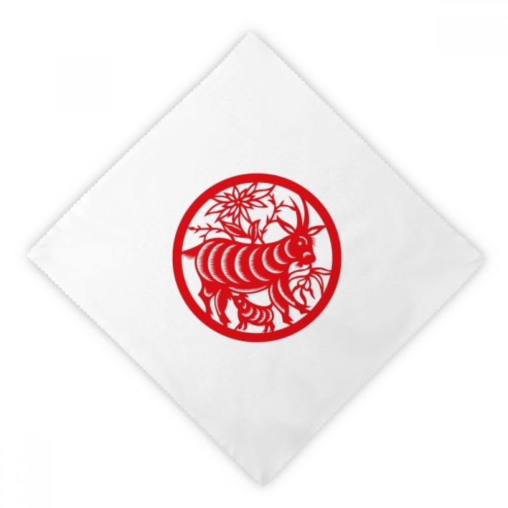DIYthinker Paper-cut Sheep Animal China Zodiac Art Dinner Napkins Lunch White Reusable Cloth 2pcs