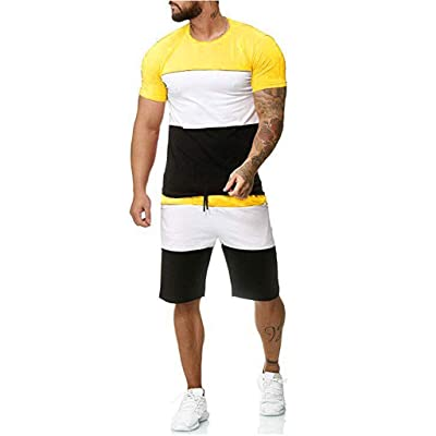 Lefthigh Men\'s Summer Striped Panel Casual Short Sleeve Shorts Sports Set at Men's Clothing store [5Bkhe0204628]
