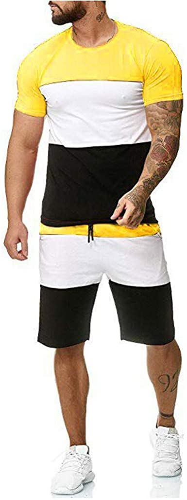 meidexian888 Mens Plus Size Solid Elastic Waistband Shorts Sport Breathable Casual Beach Pants