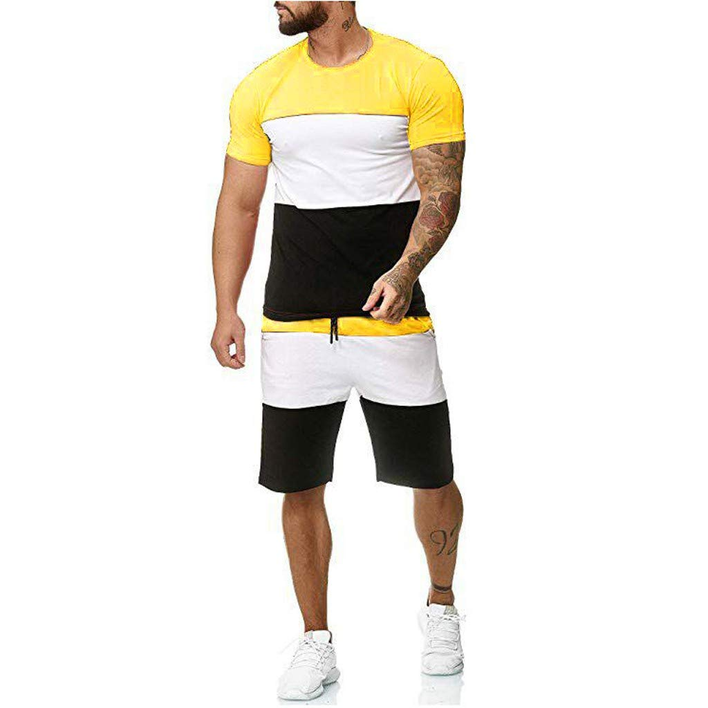Limsea 2 Piece Outfit Casual Tracksuit Short Sleeve T-Shirts and Shorts Summer Activewear Sport Set for Men