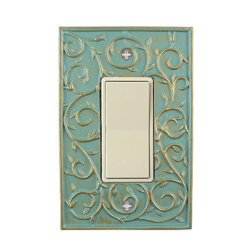 Meriville French Scroll 1 Rocker Wallplate, Single Switch Electrical Cover Plate, Buckingham Green with - Switchplate Electric