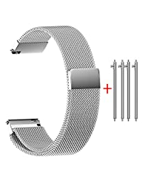 Quick Release Watch Band,Hotkey U8 Universal Milanese Magnetic Loop Stainless Steel Replacement Watch Strap With Magnetic Interlock Clasp 14mm 16mm 18mm 20mm 22mm (18mm)
