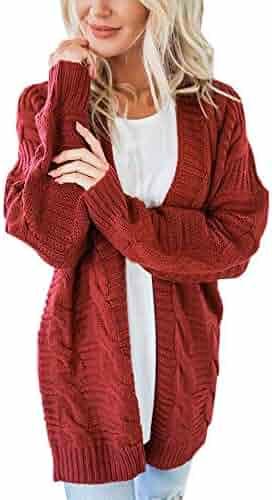 cc33ea2c35 NREALY Jacket Women s Long Sleeve Knitwear Open Front Cardigan Sweaters  Casual Outerwear