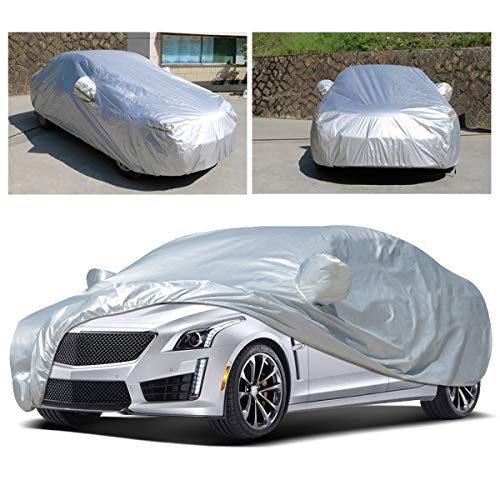 Anxingo Full Car Cover for Sedan, Breathable All Weather Sun UV Rain Dust Protection Waterproof Dustproof Snowproof Universal Fit Car Covers (XXL, - 212 Cover