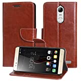 DMG Lenovo K5 Note Flip Cover, Sturdy PU Leather Wallet Book Cover Case for Lenovo K5 Note (Brown)