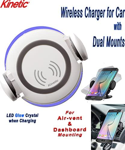 Kinetic Brand Wireless Car Charging Mount for Use with iPhone X8 Samsung QI Compatible Fast Charging Portable (White)