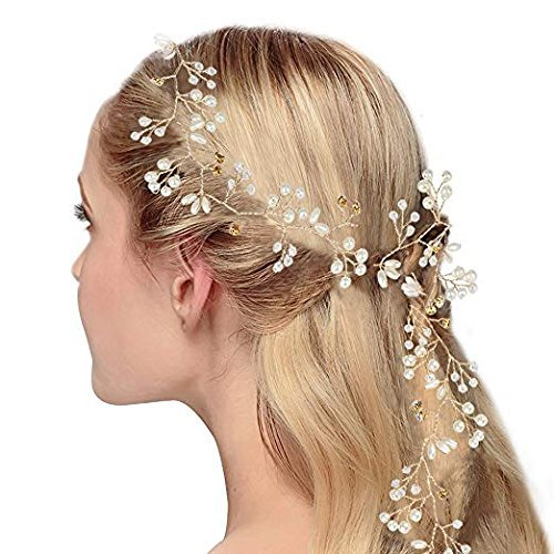 Pack Of 2 Pcs Crystals Wedding Headband Bridal Headpieces for Bridesmaid and Flowergirls, 19.7 inches Hair Vine and Headpiece Pearls Silver Hair Accessories for Women and Girls Wishglobal