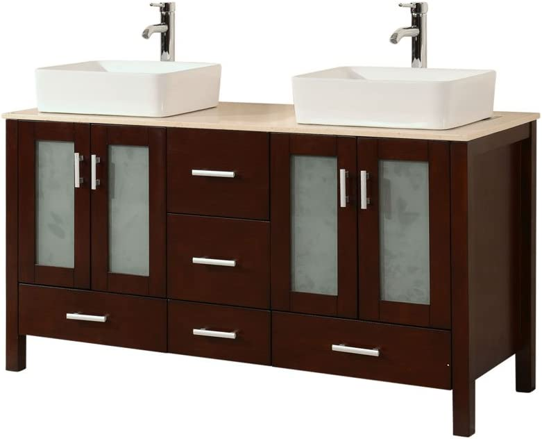 Amazon Com Chinese Arts Inc 58 Inch Contemporary Style Double Sink Bathroom Vanity Model 2415 Be Home Kitchen
