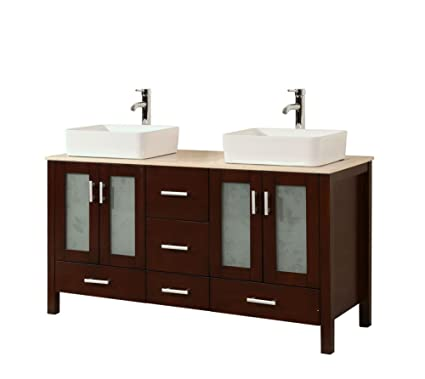 58 Inch Contemporary Style Double Sink Bathroom Vanity Model 2415 BE