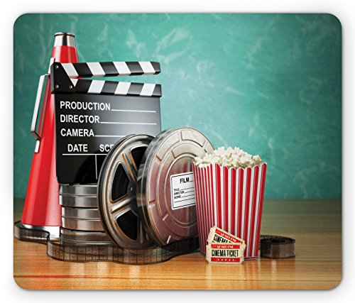 (Ambesonne Movie Theater Mouse Pad, Production Theme 3D Film Reels Clapperboard Tickets Popcorn and Megaphone, Standard Size Rectangle Non-Slip Rubber Mousepad, Multicolor)