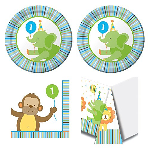 Sweet at One Boy First Birthday Party Supplies - 16 guests, cake plates, napkins, tablecover