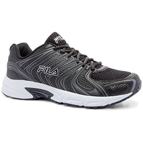 Cheap Fila Men's Varigate Athletic Sneakers, Black, Faux Leather, Mesh, Textile, Rubber, 8.5 M