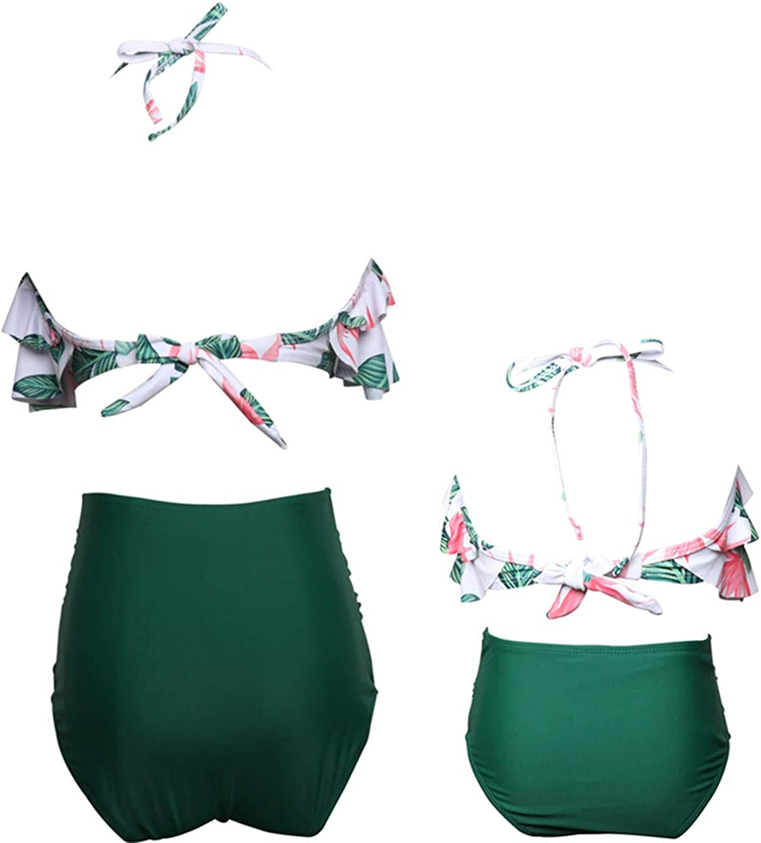 Uhnice Girls Swimsuit High Waisted Two Pieces Bikini Set Swimwear Bathing Suits