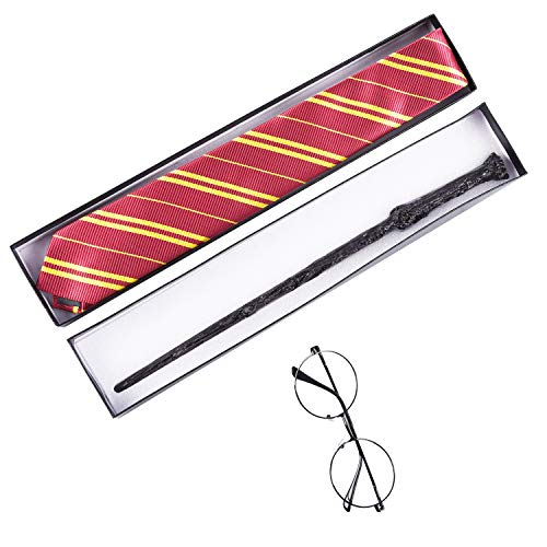 LEADTEAM Wand Set for Cosplay Party Costume Accessories for Dress Up Party Halloween Wands Set Include Wand Tie Eyeglass Packed