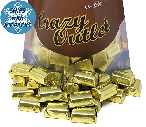 CrazyOutlet Pack - Hershey's Nuggets Milk Chocolate with Almonds Candy Bar, Gold Foils Wrapped, Bulk Candy, 2 lbs