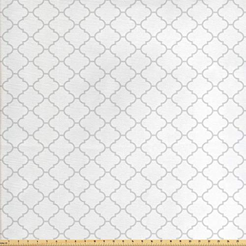 Lunarable Grey Fabric by The Yard, Ancient Moroccan Traditional Trellis Pattern Simple Geometric Monochrome Tile, Decorative Fabric for Upholstery and Home Accents, 2 Yards, Pale Grey White