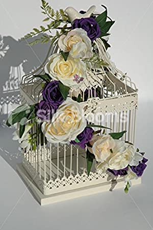 Silk Blooms Ltd Marfil y Morado Rosa Shabby Chic Jaula de pájaros ...