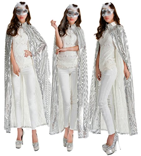 Sept.Filles Ladies Cloaks Full Length Colored Sequins Goddess Essentials (Silver) (Black Sequin Witch Costume)