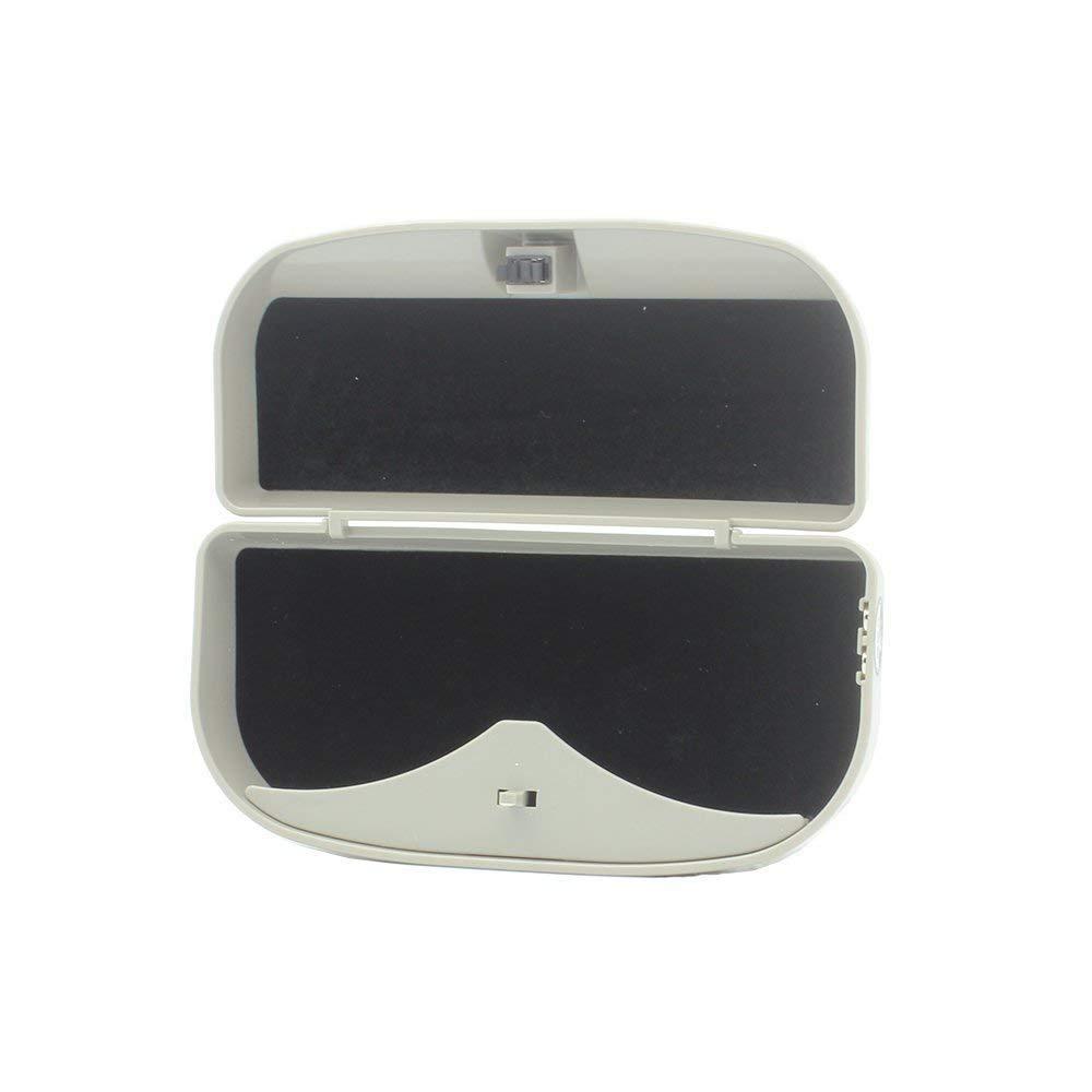 BestTeam Car Sun Visor Glasses Box Gray Universal Car Sunglasses Holder Case Storage Box Eye Glasses Box with Card Holder for Sun Visor