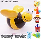 WitnyStore Piggy Bank Ceramic Cute Handmade Paint Coat Figurine Fancy Animal Decor Collect Coin Hight Quality (Bee Cute)