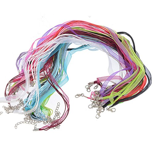 Souarts Mixed Organza Ribbon Cord Necklace with Lobster Clasp 17 Inch Pack of 24pcs -