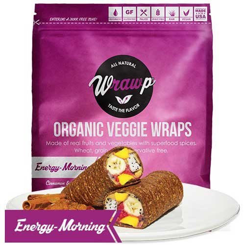 Wrawp Organic Energizing Morning Veggie Wrap, 5.9 Ounce - 8 per case. by Wrawp
