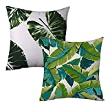 """Popeven Canvas Leaves Decorative Pillow Cover Green Square Swaying Palm Tree Accent Pillow Case for Couch Home D¨¦cor Zippered Cushion Cover Standard Size Pillowcase 18 x 18"""""""