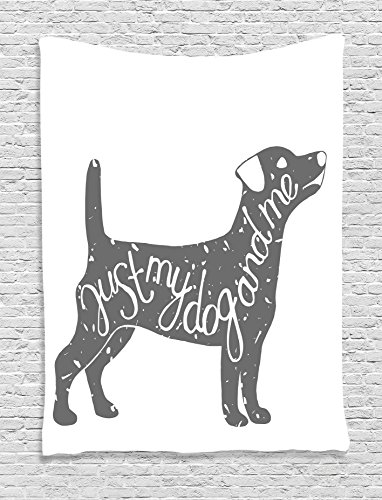 Ambesonne Dog Lover Decor Collection, Just Me and My Dog Message Quote Vintage Typographic Pet Label Art, Bedroom Living Room Dorm Wall Hanging Tapestry, Gray White