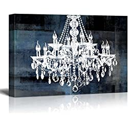 """wall26 Canvas Wll Art - Crystal White Chandelier on Blue Abstract Vintage Background - Giclee Print and Stretched Ready to Hang - 24""""x36"""""""