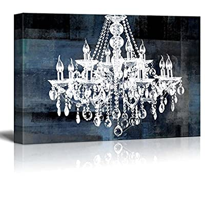 Crafted to Perfection, Wonderful Style, Wll Art Crystal White Chandelier on Blue Abstract Vintage Background and Stretched