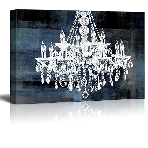 Wll Art Crystal White Chandelier on Blue Abstract Vintage Background and Stretched