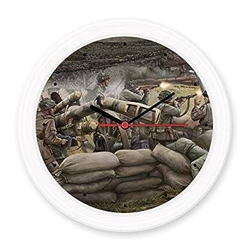 La Segunda Guerra Mundial II soldados abierto fuego campamentos para lucha militar tema pintura al óleo Silent Non-ticking Reloj decorativo de pared redondo ...